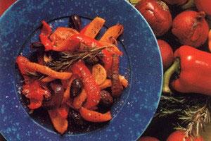 Bagte peber og tomater
