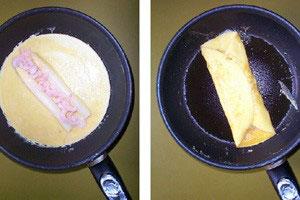 Omelet m.asparges og rejer