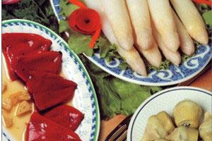 Pimientos, artiskok og asparges