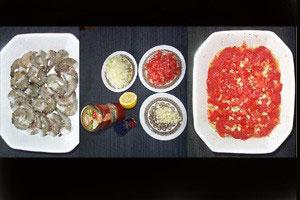 Tiger-rejer med løg og tomat